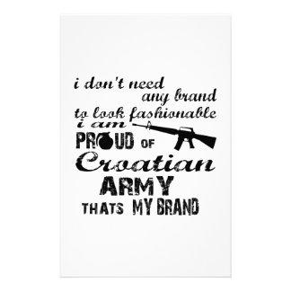 I am proud of Croatian army Custom Stationery