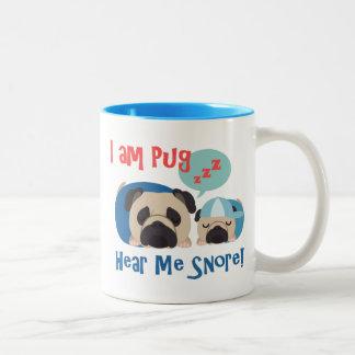 I am Pug, Hear Me Snore tees and gifts Two-Tone Coffee Mug