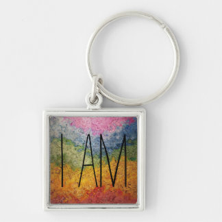I AM  Rainbow Wavy Stripes Silver-Colored Square Keychain