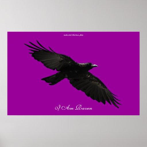 I AM RAVEN III Flying Black Raven Art Poster