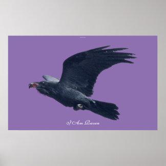 I AM RAVEN IV Flying Black Raven Art Poster