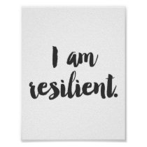 """I Am Resilient"" Cursive Quote Poster"