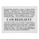 I AM RESILIENT Poster to Inspire and Motivate You