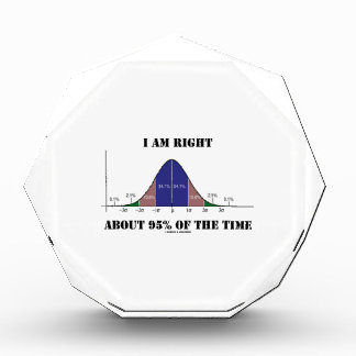 I Am Right About 95% Of The Time Bell Curve Humor Acrylic Award