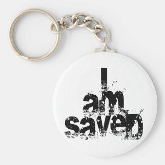 I AM Saved Christian Basic Round Button Keychain