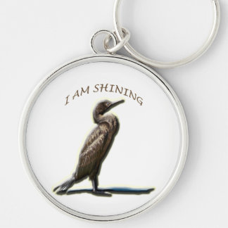 I AM SHINING, CORMORANT Silver-Colored ROUND KEYCHAIN