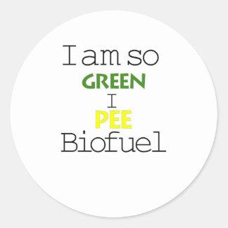 I Am So Green I Pee Biofuel Classic Round Sticker