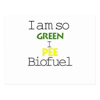 I Am So Green I Pee Biofuel Postcard