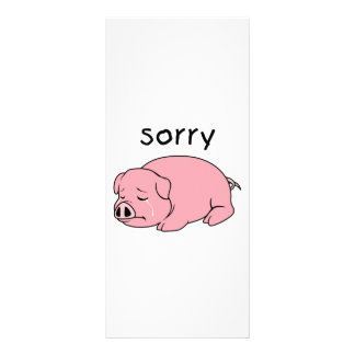 I am so Sorry Crying Weeping Pink Pig Stamp Cards Personalized Rack Card