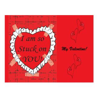 I am so Stuck on you Valentine Postcard