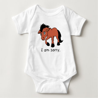 I am Sorry Crying Weeping Foal Young Horse Kids Baby Bodysuit