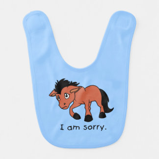 I am Sorry Crying Weeping Foal Young Horse Kids Bib