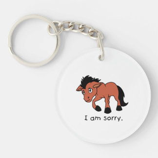 I am Sorry Crying Weeping Foal Young Horse Mug Single-Sided Round Acrylic Keychain