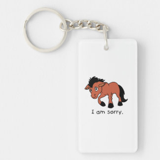 I am Sorry Crying Weeping Foal Young Horse Mug Single-Sided Rectangular Acrylic Keychain