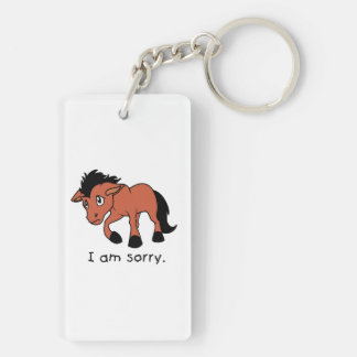 I am Sorry Crying Weeping Foal Young Horse Mug Double-Sided Rectangular Acrylic Keychain