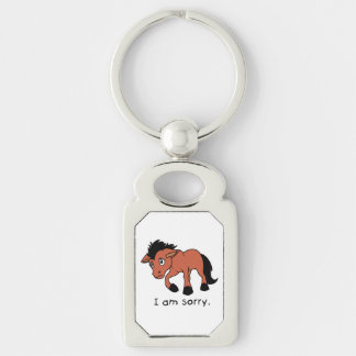 I am Sorry Crying Weeping Foal Young Horse Mug Silver-Colored Rectangular Metal Keychain