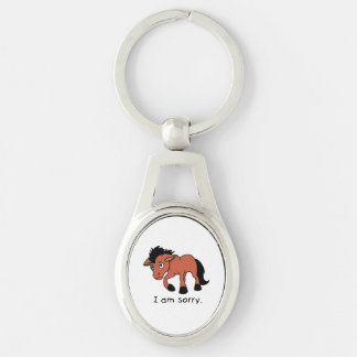 I am Sorry Crying Weeping Foal Young Horse Mug Silver-Colored Oval Metal Keychain