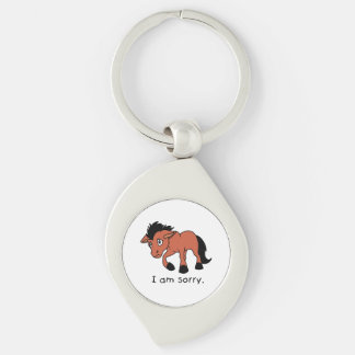 I am Sorry Crying Weeping Foal Young Horse Mug Silver-Colored Swirl Metal Keychain