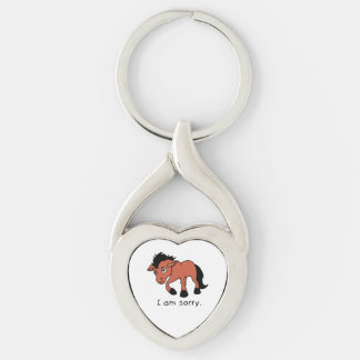 I am Sorry Crying Weeping Foal Young Horse Mug Silver-Colored Heart-Shaped Metal Keychain