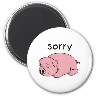 I am Sorry Crying Weeping Pink Pig Card Mug Button 2 Inch Round Magnet