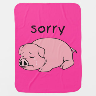 I am Sorry Crying Weeping Pink Pig Kids Tee Shirt Swaddle Blankets
