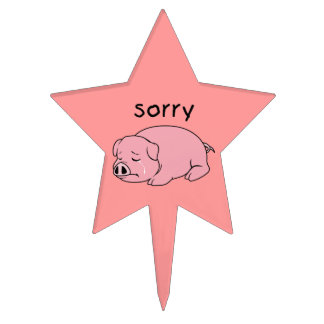 I am Sorry Crying Weeping Pink Pig Napkin Plate Cake Toppers