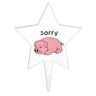 I am Sorry Crying Weeping Pink Pig Napkin Plate Cake Picks