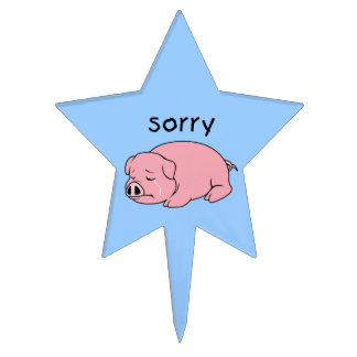 I am Sorry Crying Weeping Pink Pig Napkin Plate Cake Pick