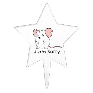 I am Sorry Crying Weeping White Mouse Apron Plates Cake Toppers