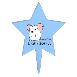 I am Sorry Crying Weeping White Mouse Apron Plates Cake Topper