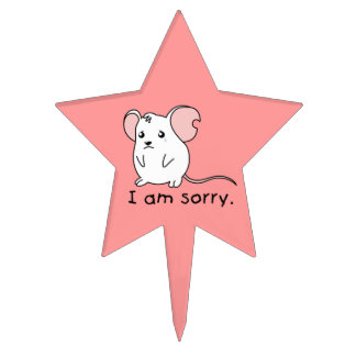 I am Sorry Crying Weeping White Mouse Apron Plates Cake Picks