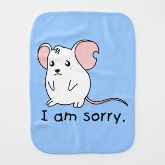 I am Sorry Crying Weeping White Mouse Card Stamp Baby Burp Cloth