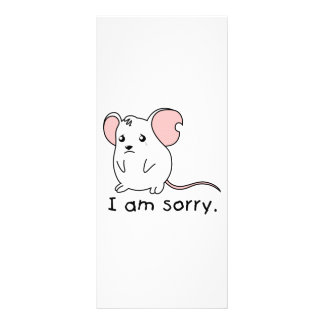 I am Sorry Crying Weeping White Mouse Card Stamp Customized Rack Card