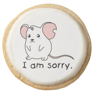 I am Sorry Crying Weeping White Mouse Chocolate Round Premium Shortbread Cookie