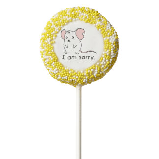 I am Sorry Crying Weeping White Mouse Chocolate Chocolate Dipped Oreo Pop