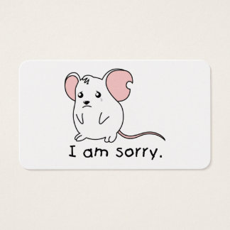 I am Sorry Crying Weeping White Mouse Mug Pillow Business Card