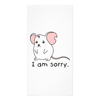 I am Sorry Crying Weeping White Mouse Mug Pillow Personalized Photo Card