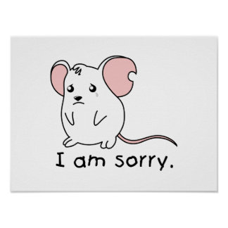 I am Sorry Crying Weeping White Mouse Mug Pillow Print
