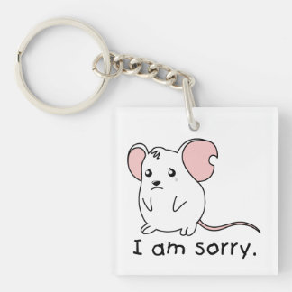 I am Sorry Crying Weeping White Mouse Pillow Mugs Square Acrylic Key Chains