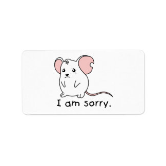 I am Sorry Crying Weeping White Mouse Pillow Mugs Label