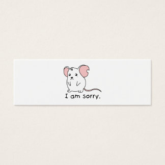 I am Sorry Crying Weeping White Mouse Pillow Mugs Mini Business Card