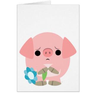 I am sorry Cute Cartoon Piglet Greeting Card