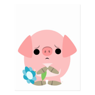 """I am sorry"" Cute Cartoon Piglet postcard"