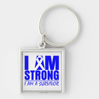 I am Strong - I am a Survivor - Anal Cancer Silver-Colored Square Keychain