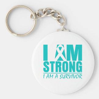 I am Strong - I am a Survivor - Ovarian Cancer Keychain