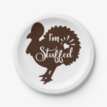 I am stuffed Funny Thanksgiving Paper Plate