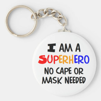 I am superhero basic round button keychain