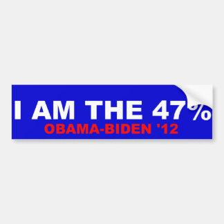 I Am The 47% Obama-Biden 2012 Car Bumper Sticker