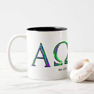 I Am The Alpha and Omega- Revelation 22:13 Two-Tone Coffee Mug