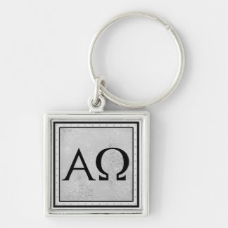 I am the Alpha and Omega, the First and the Last Silver-Colored Square Keychain